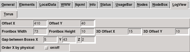 LLview Option panel, LogView